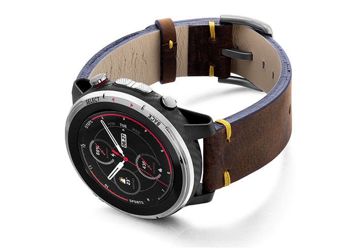 Amazfit-stratos-old-brown-vintage-band-with-diaplay-on-left