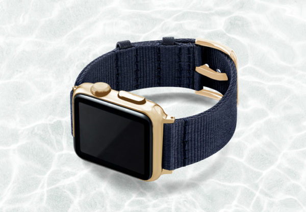 AW-blue-tide-recycled-by-ocean-band-40mm-case-on-leftwith-stainless-gold-adaptors
