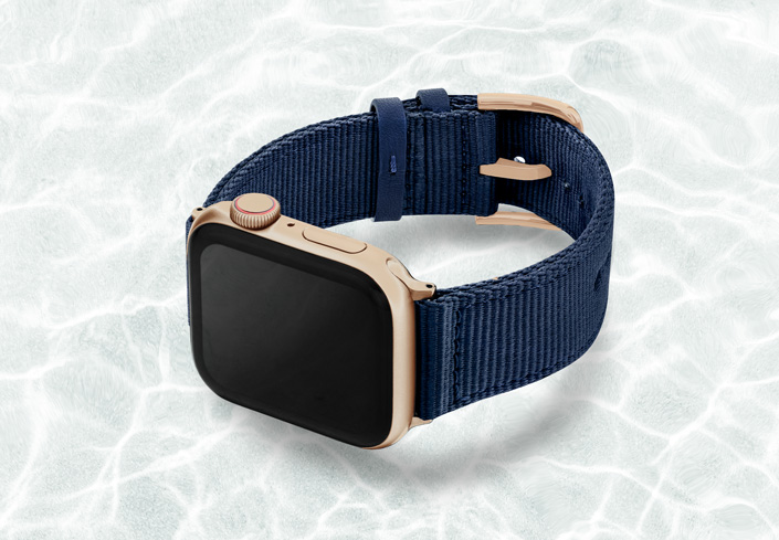 AW-blue-tide-recycled-by-ocean-band-44mm-case-on-left--with-aluminium-gold-adaptors