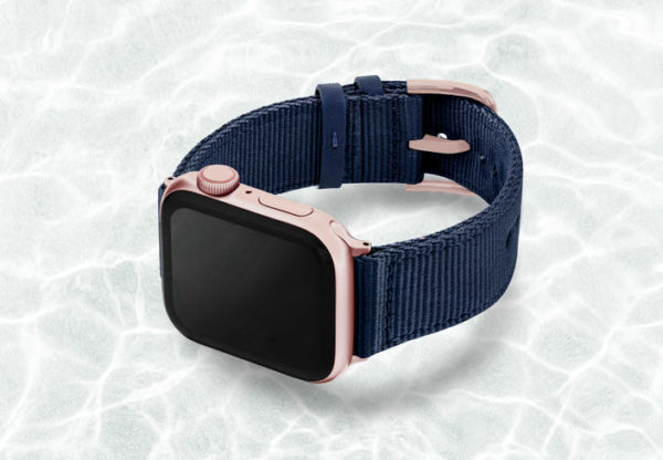 AW-blue-tide-recycled-by-ocean-band-44mm-case-on-left-with-aluminium-rose-gold-adaptors