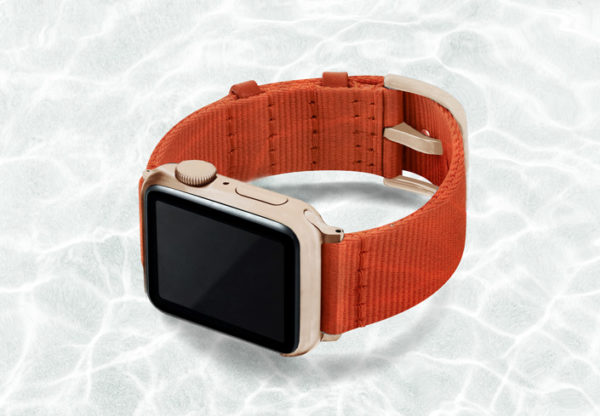 AW-orange-tide-recycled-by-ocean-band-40mm-case-on-left-with-aluminium-gold-adaptors