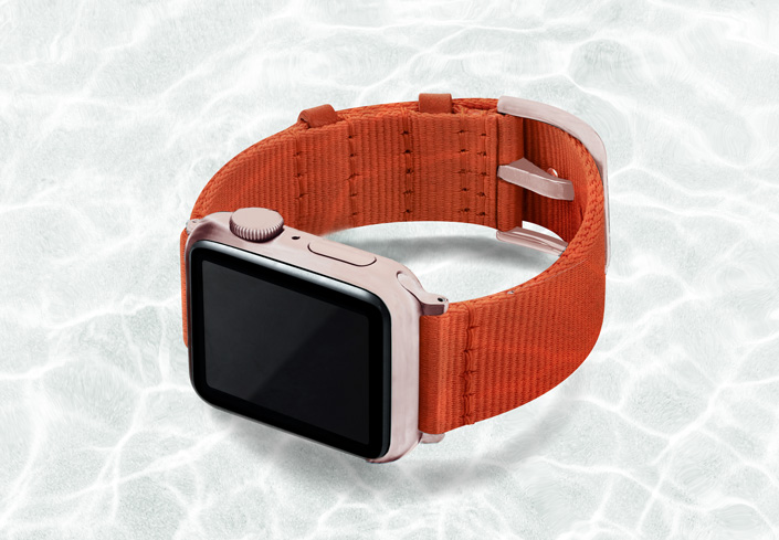 AW-orange-tide-recycled-ocean-plastic-band-40mm-case-on-left-with-aluminium-rose-gold-adaptors