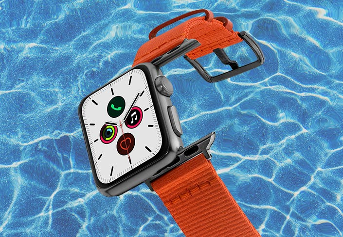 Apple-watch-orange-tide-band-recycled-ocean-plastic-40mm-flyiing-view