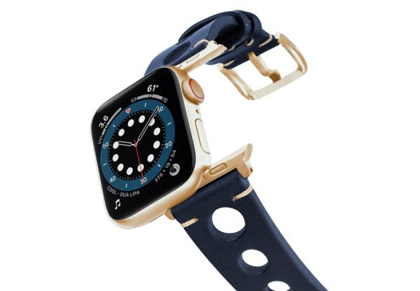 Blue-AW-urban-leather-band-on-air-alluminium-gold-adapters
