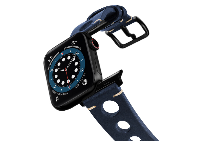 Blue-AW-urban-leather-band-on-air-stainless-black-adapters