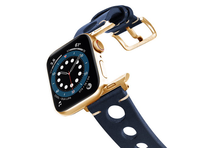Blue-AW-urban-leather-band-on-air-stainless-gold-adapters