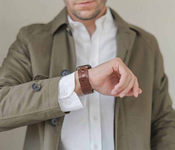 AW dark brown full grain leather band for man seeing his watch