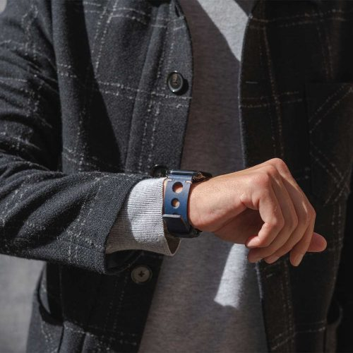 AW blue full grain leather band for man seeing your watch