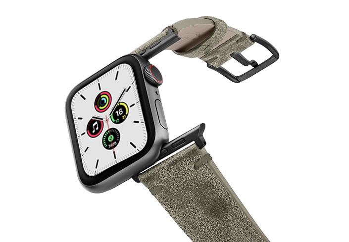 Ancient-green-leather-band-with-space-grey-adapters