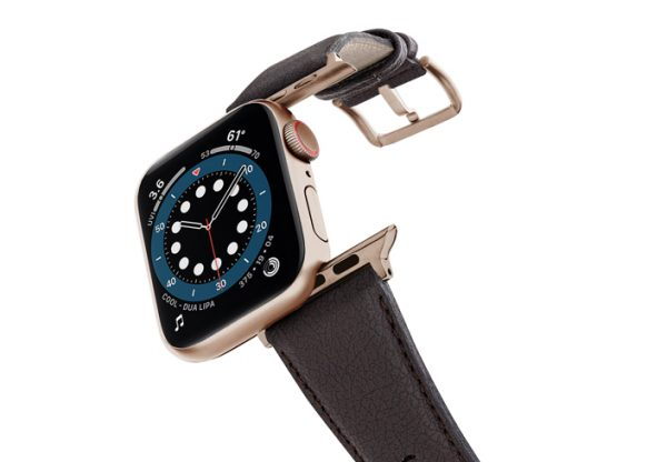 Pumila-Apple-watch-vegan-leather-band-flying-view_alluminium_Gold_Case