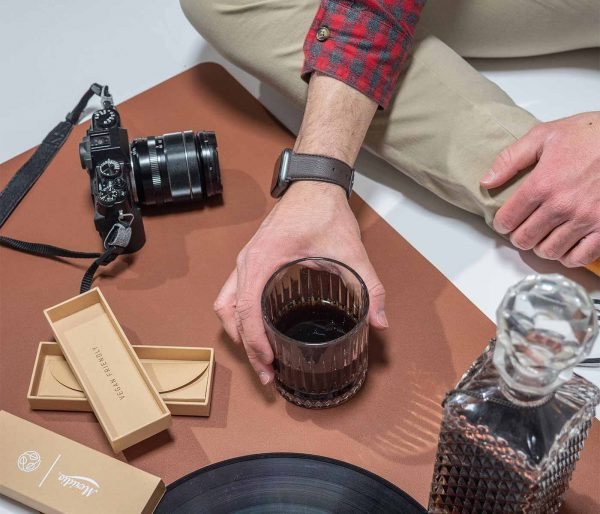 Dark brown Apple watch vegan leather band with a whisky