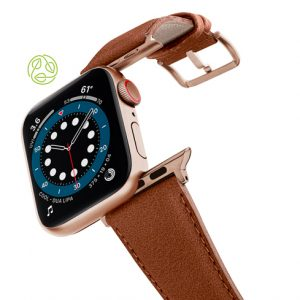Anurka-Apple-watch-vegan-leather-band-flying-view_alluminium_Gold_Case-recycled-green-logo