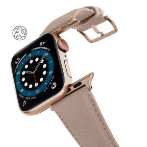 Bisque-Apple-watch-vegan-leather-band-flying-view_alluminium_Gold_Case_with_logo