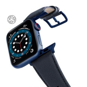 Blue_Cider-Apple-watch-vegan-leather-band-flying-view_Blue_Case_with_logo