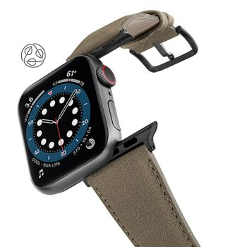 Strudel-Apple-watch-vegan-leather-band-flying-view_Space_grey_case_with_logo