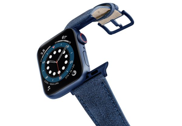 Recycled-Blue-Apple-watch-vegan-leather-band-flying-view_alluminium_Blue_Case