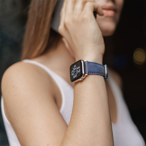 Recycled-Blue-cotton-apple-watch-band-for-her-summer-mood
