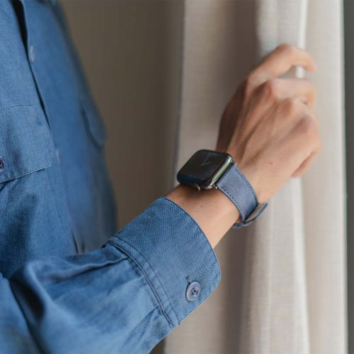 Recycled-Blue-cotton-apple-watch-band-for-him-closeup-casual-mood