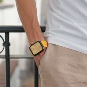 Recycled-Golden-cotton-apple-watch-band-for-him-closeup-casual-mood