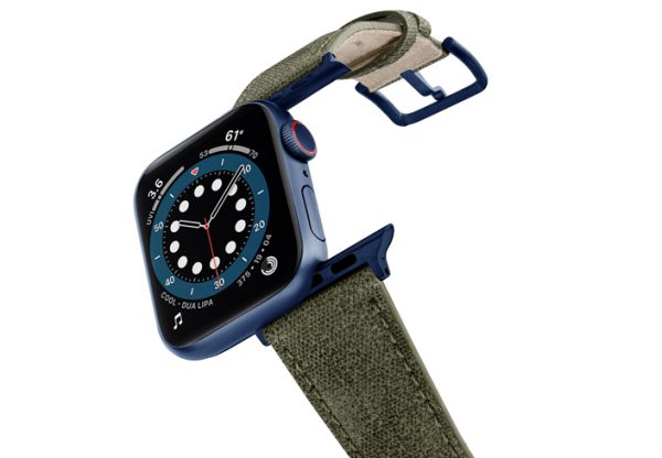 Recycled-Green-Apple-watch-vegan-leather-band-flying-view_alluminium_Blue_Case