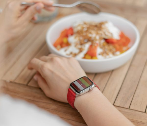 Recycled-Red-cotton-apple-watch-band-for-her-breakfast-time