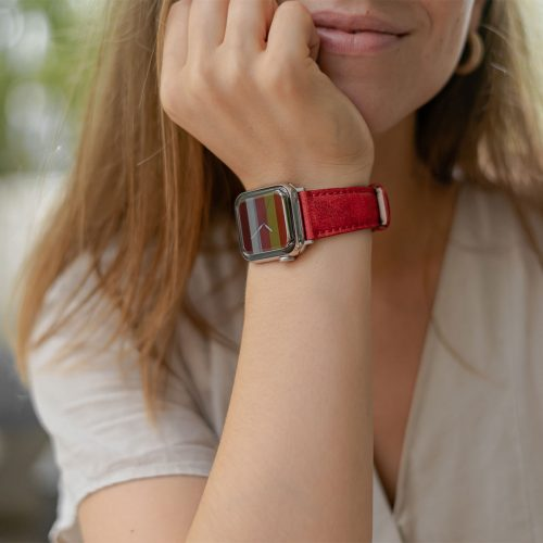 Recycled-Red-cotton-apple-watch-band-for-her-closeup
