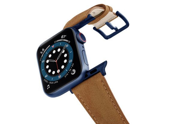 Recycled-Toffee-Apple-watch-vegan-leather-band-flying-view_alluminium_Blue_Case