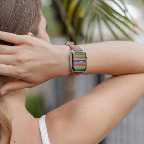 Recycled-Toffee-cotton-apple-watch-band-for-her-closeup-rainbow-style
