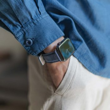 Recycled-Blue-cotton-apple-watch-band-for-him-elegant-mood