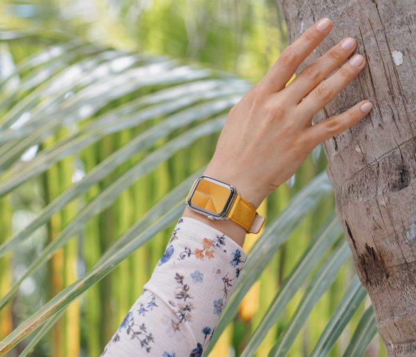 Recycled-golden-cotton-apple-watch-band-for-her-jungle-mood