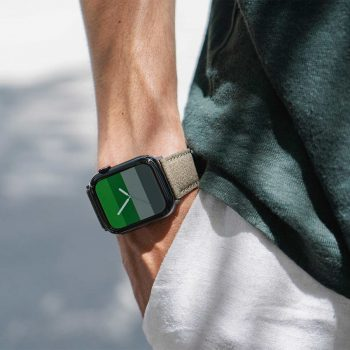 Recycled-green-cotton-apple-watch-band-for-him-closeup
