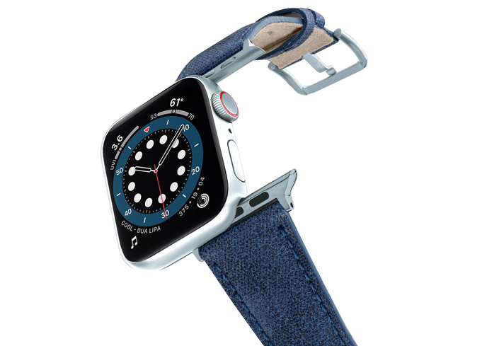 RECYCLED-blue-COTTON-apple-watch-band-aluminium-SILVER-flying-mode