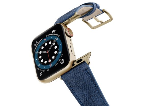 Recycled-Blue-cotton-Apple-watch-band-stainless-gold-case-flying-mode