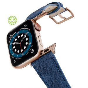 RECYCLED-BLUE-COTTON-apple-watch-band-aluminium-gold-flying-mode