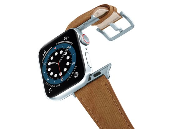 RECYCLED-BROWN-COTTON-apple-watch-band-aluminium-SILVER-flying-mode