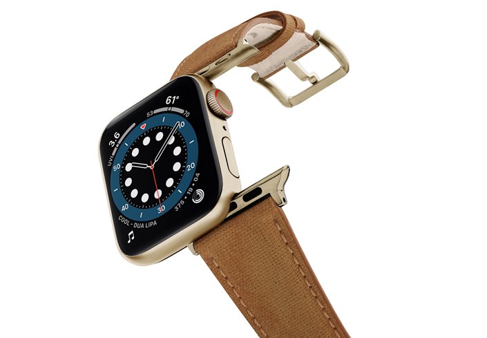 Recycled-TOFFEE-Apple-watch-vegan-leather-band-flying-view_stainless-gold_Case