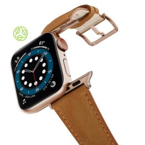 RECYCLED-BROWN-COTTON-apple-watch-band-aluminium-gold-flying-mode