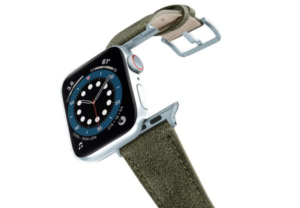 RECYCLED-GREEN-COTTON-apple-watch-band-aluminium-SILVER-flying-mode