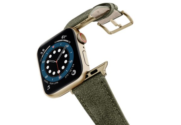 Recycled-GREEN-Apple-watch-vegan-leather-band-flying-view_stainless-gold_Case