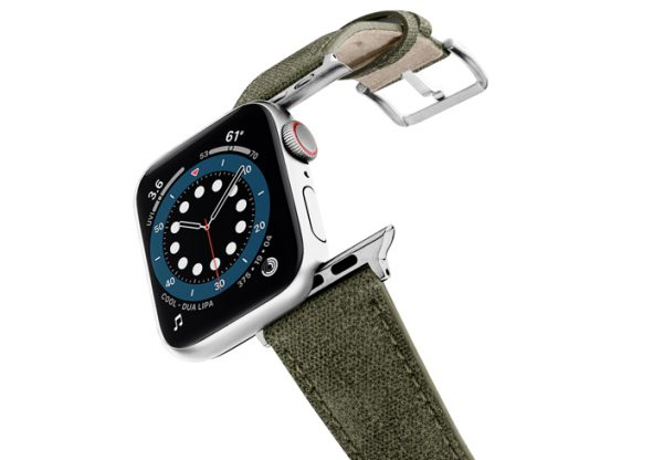 Recycled-green-cotton-apple-watch-band-stainless-steel-case-flying-mode