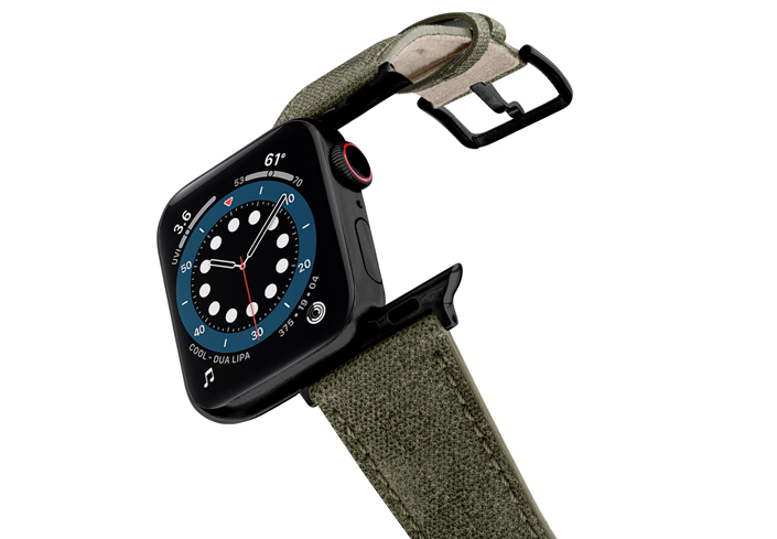 Recycled-green-cotton-apple-watch-band-stainless-black-case-flying-mode