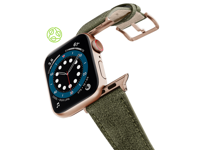 RECYCLED-GREEN-COTTON-apple-watch-band-aluminium-gold-flying-mode