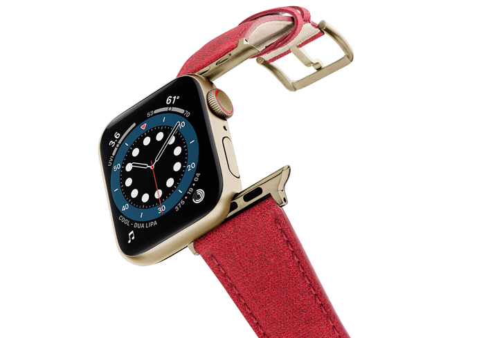 Recycled-RED-Apple-watch-vegan-leather-band-flying-view_stainless-gold_Case