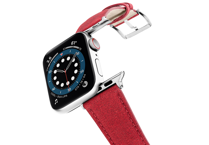 Recycled-Red-cotton-apple-watch-band-stainless-steel-case-flying-mode