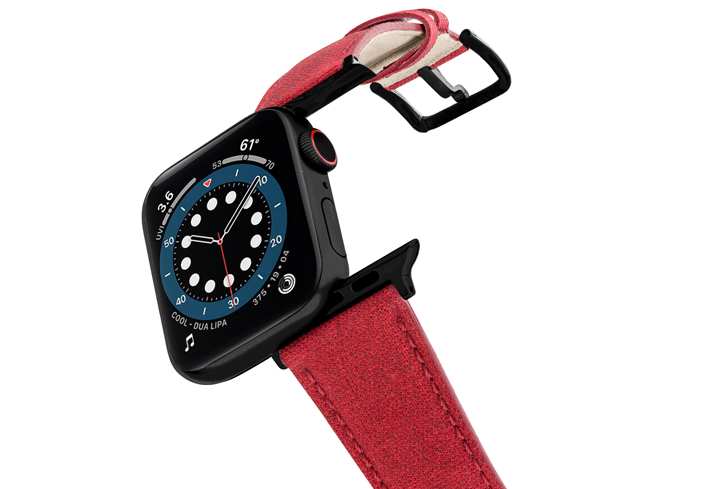 Recycled-Red-cotton-apple-watch-band-stainless-black-case-flying-mode