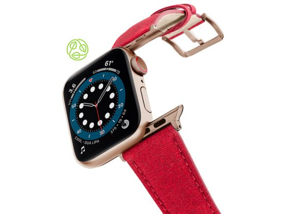 RECYCLED-RED-COTTON-apple-watch-band-aluminium-gold-flying-mode
