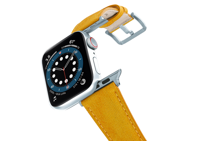 RECYCLED-YELLOW-COTTON-apple-watch-band-aluminium-SILVER-flying-mode