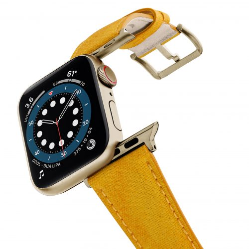 Recycled-Golden-Apple-watch-vegan-leather-band-flying-view_stainless-gold_Case