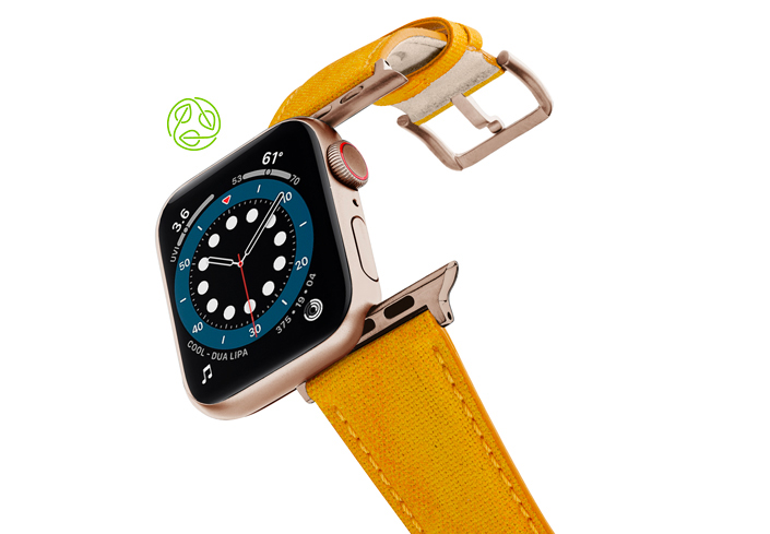 RECYCLED-YELLOW-OTTON-apple-watch-band-aluminium-gold-flying-mode