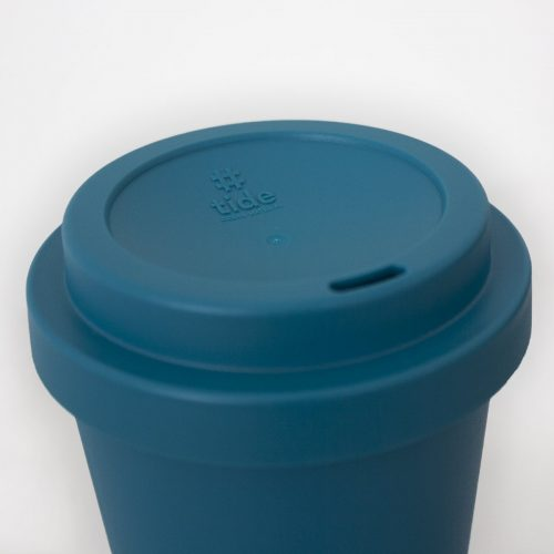 Recycled Ocean bound plastic cup close up